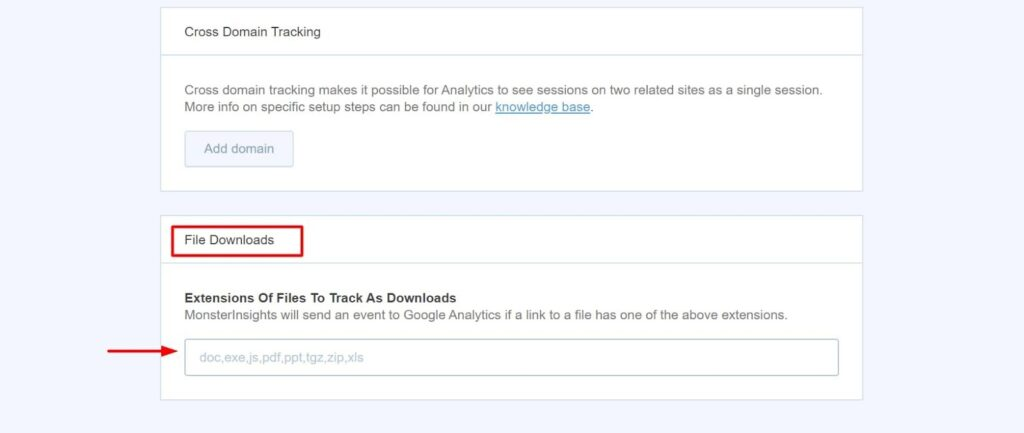 enable file download tracking monsterinsights