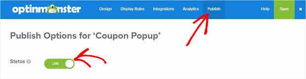 Popup coupon publish