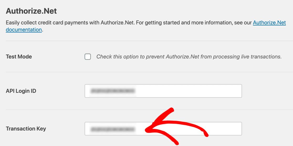 authorize.net payment form payment key