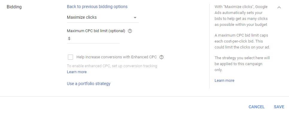 google ads maximize clicks