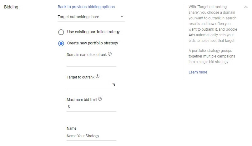 google ads target outranking share