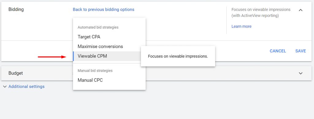 google ads VCPM