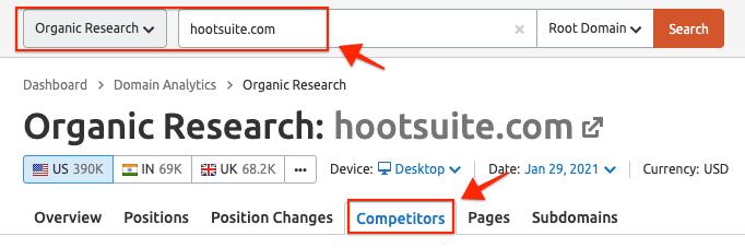 Semrush organic competitors report