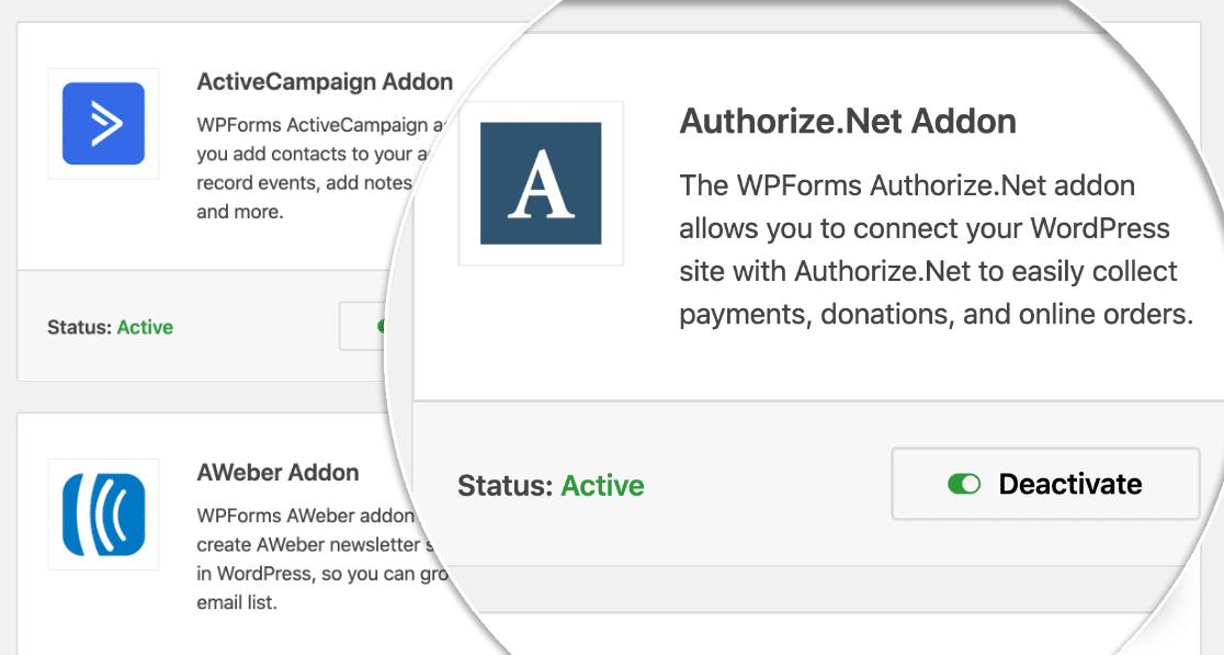 wpforms authorize net addon