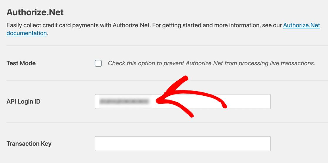wpforms authorize.net payment form api key