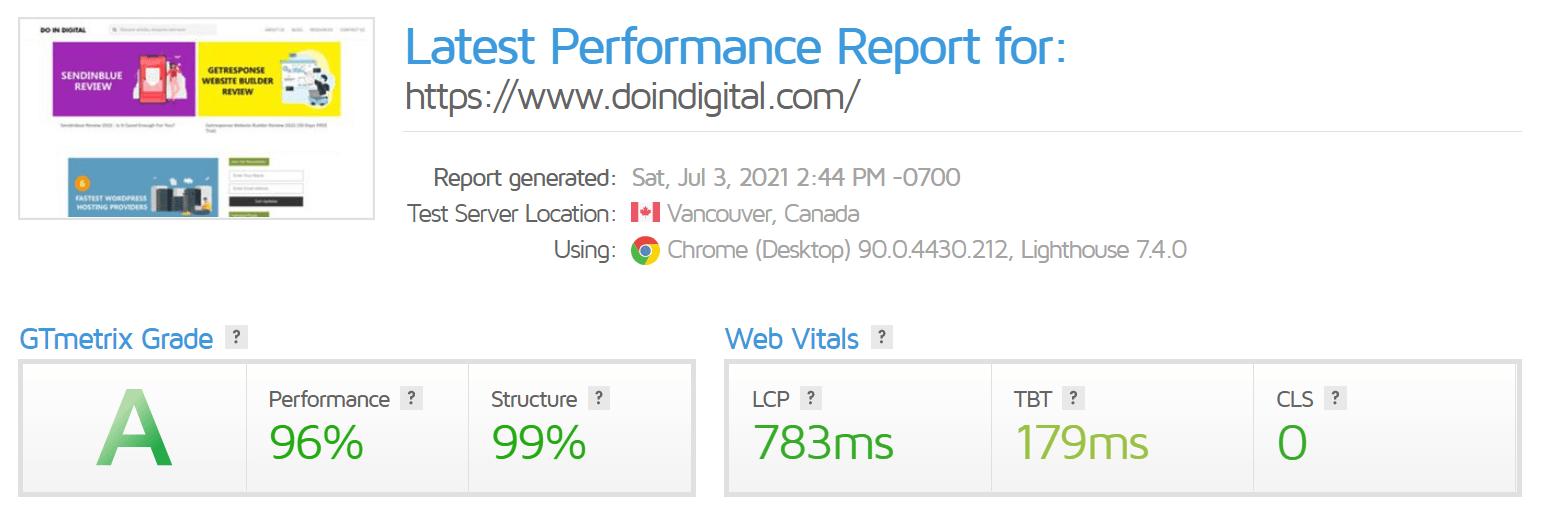 gtmetrix pagespeed after rocket.net migration