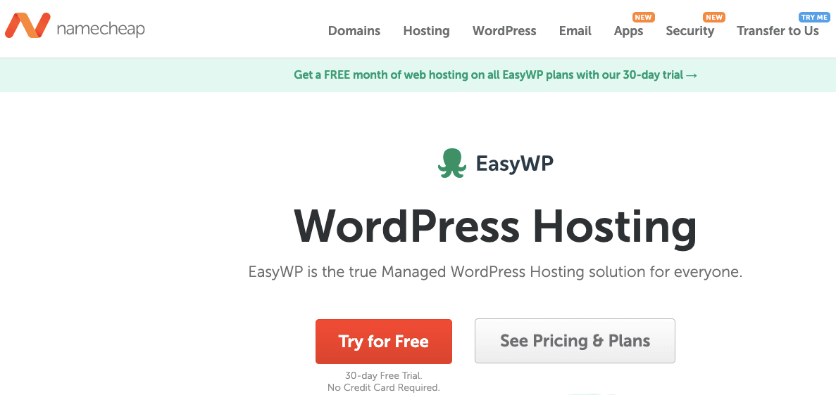 namecheap web hosting free trial