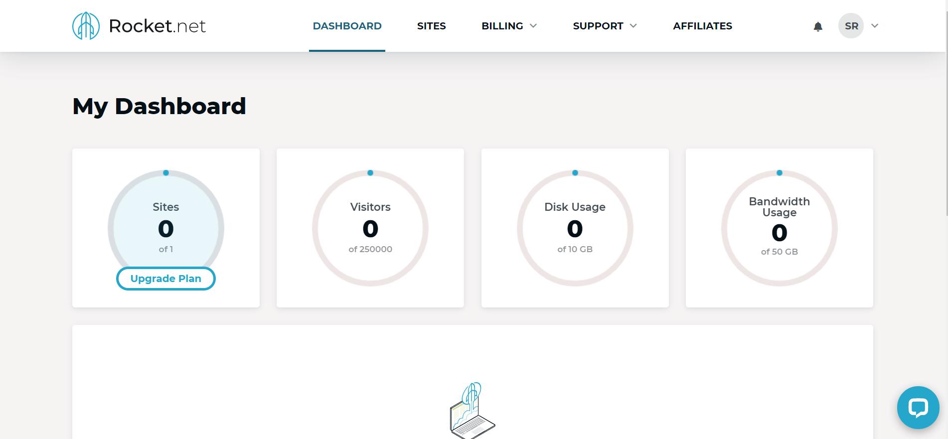 rocket.net client area dashboard